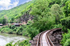 Death Railway, during the World War II at Kanchanaburi Thailand. Focus on train Royalty Free Stock Photos