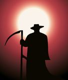 Death reaper. Silhouette of death reaper over red background royalty free illustration
