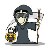 Death reaper halloween costume. People wear death reaper costume for halloween and holding a pumpkin basket for trick or treat Royalty Free Stock Photography