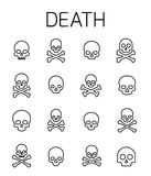 Death related vector icon set. Well-crafted sign in thin line style with editable stroke. Vector symbols isolated on a white background. Simple pictograms vector illustration