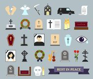 Death, ritual and burial colored icons. Web elements on the theme of death, the funeral ceremony. Vector illustration Royalty Free Stock Photos