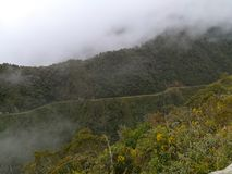 Death Road from Coroico to La Paz, Bolivia. North Yungas Road stock image