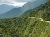 The Death Road - the most dangerous road in the world, Bolivia. The Death Road - the most dangerous road in the world, North Yungas, Bolivia stock image