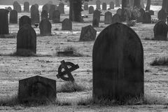 Death Rows. Black and white image of rows of gravestones Royalty Free Stock Image
