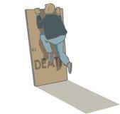 Deaths door. Man climbing up to peep over death door Royalty Free Stock Photo