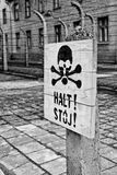 A death's head sign in Auschwitz Stock Images