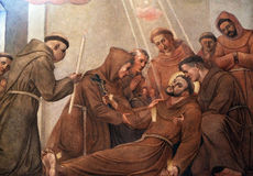 Death of Saint Francis of Assisi. Fresco in the Franciscan Church of the Annunciation in Ljubljana, Slovenia royalty free stock photography
