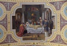 Death of saint Nicholas. Fresco painting in parish church of St. Nicholas in Bad Ischl, Austria on December 14, 2014 Stock Images