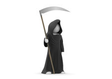 Death with scythe. 3d isolated on white background characters series Stock Image