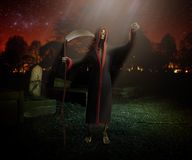 Death with a scythe at the cemetery 3d render background Stock Photography