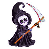 Death with a scythe in his hands on white. Background Stock Photo