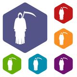 Death with scythe icons set hexagon Royalty Free Stock Photography