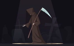 Death With Scythe Symbol Cartoon Image. Death with scythe traditional black-hooded grim reaper symbolic figure in spotlight dark background poster cartoon vector Royalty Free Stock Photography