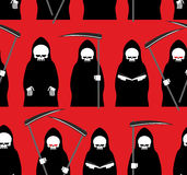 Death seamless pattern. Grim Reaper red background. Texture for. Halloween Royalty Free Stock Photography