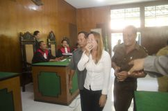 DEATH SENTENCE FOR DRUG CARTEL. The trial of Vietnamese Tran Thi bihch Han who was convicted as drug trafficker, at Boyolali District Court, Java, Indonesia Stock Image