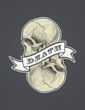 Death sign with ribbon and skull vector eps8 Stock Photos