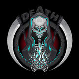 Death skeleton Grim Reaper characters with scythe Emblem Logo Holding Human Soul. Illustration of Death skeleton Grim Reaper characters with scythe Holding Human vector illustration
