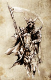 Death. Sketch of tattoo art, warrior at horse Royalty Free Stock Images