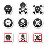 Death, skull with bones vector icons set Stock Image