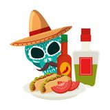 Death skull with delicious mexican food. Vector illustration design vector illustration
