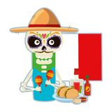 Death skull with delicious mexican food. Vector illustration design stock illustration