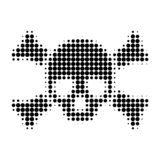 Death Skull Halftone Dotted Icon. Halftone array contains circle pixels. Vector illustration of death skull icon on a white background vector illustration