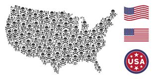 USA Map Collage of Death Skull. Death skull items are grouped into American map stylization. Vector concept of American territorial scheme is organized of death royalty free illustration