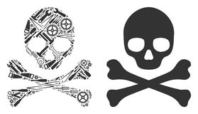 Death Skull Mosaic of Service Tools stock illustration