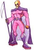 Death skull super hero. Logo sketch stock illustration