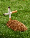 Death and smoke. A tobacco tomb in a cemetery Stock Images