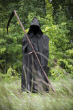 Death standing with scythe on hand. Death in black coat standing on a field scythe on hand Stock Image