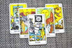 Death Tarot Card End Changes Transformation. Death Tarot Card brings End of an era Changes Transformation Rebirth and new life Stock Photography