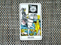 Death Tarot Card End Changes Transformation. Death Tarot Card brings End of an era Changes Transformation Rebirth and new life Royalty Free Stock Images