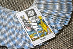 Death Tarot Card End Changes Transformation. Death Tarot Card brings End of an era Changes Transformation Rebirth and new life Stock Images