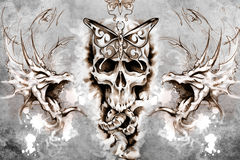 Death Tattoo design over grey background. textured backdrop. Art Royalty Free Stock Photo