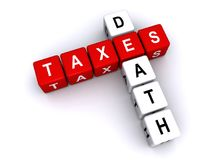 Death and taxes illustration. Death and taxes spelled in 3D blocks crossword puzzle style Stock Image