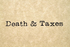 Death & Taxes Typewriter Type Stock Images