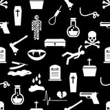 Death theme set of vector black simple icons seamless pattern eps10 Royalty Free Stock Photos