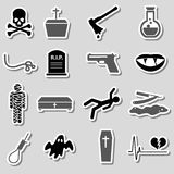 Death theme set of vector black simple stickers eps10 Stock Photo