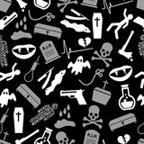 Death theme set of vector icons black and white seamless pattern eps10 Royalty Free Stock Photography