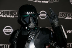 Death Trooper. At the World premiere of `Rogue One: A Star Wars Story` held at the Pantages Theatre in Hollywood, USA on December 10, 2016 Royalty Free Stock Photos