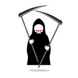 Death with two scythe. Ferocious Grim Reaper with red eyes. Stock Photography