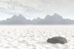 Death Valley. 3D render of Death Valley National Park with dry, cracked ground royalty free illustration