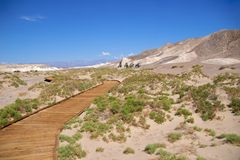 Death Valley Boardwalk Salt Creek Stock Photo