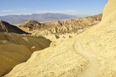 Death Valley Desert Hiking Path. Barren Desert Hiking Path on Golden Canyon Trail in Death Valley, California Royalty Free Stock Image