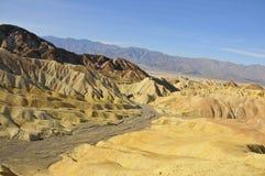 Death Valley Desert Landscape 3. Barren Desert Landscape Along Riverbed Golden Canyon Trail in Death Valley, California Stock Photography
