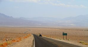 California: Death Valley - Road Below Sea Level Royalty Free Stock Photo