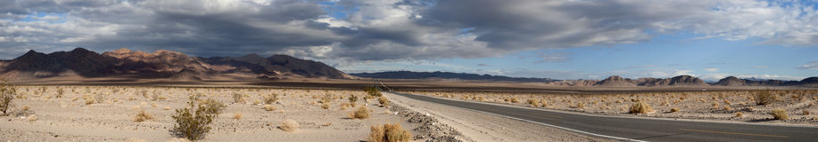 Death valley highway panorama. Stormy death valley highway panorama Stock Photo