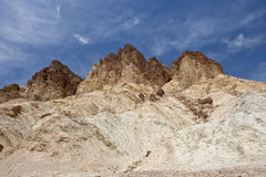 Death Valley landscape. Scenic view of Golden Canyon landscape with rock formations under blue sky, Death Valley, Mojave desert, U.S.A Stock Image