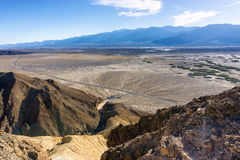 Death Valley Landscape. Beautiful landscape of Death Valley National Park with a parking lot visible below Stock Photography